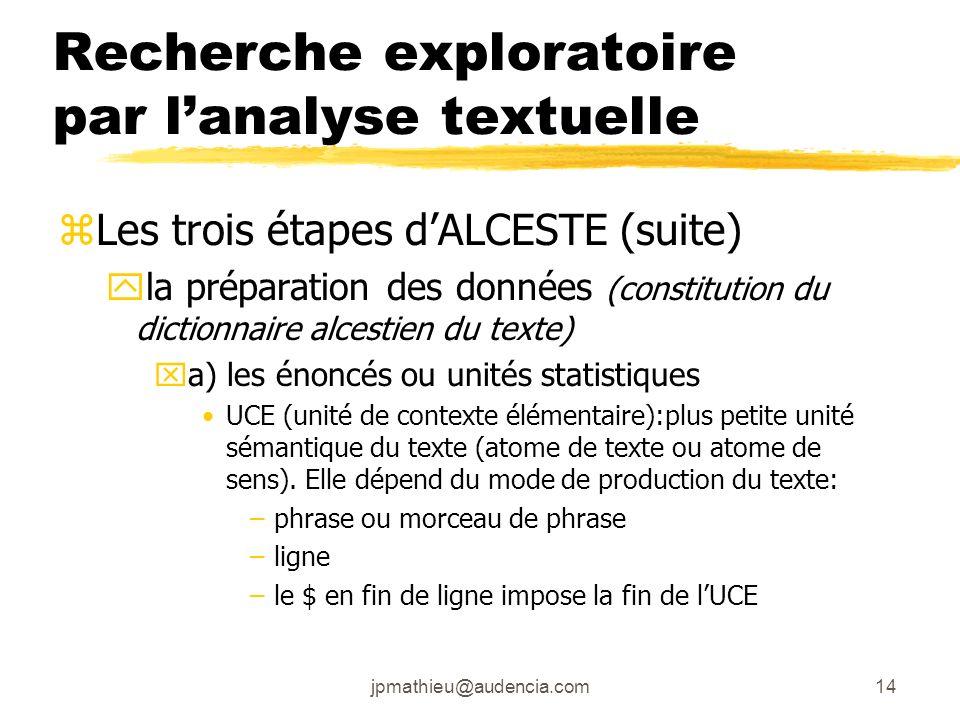 jpmathieu@audencia.com14 Recherche exploratoire par lanalyse textuelle zLes trois étapes dALCESTE (suite) yla préparation des données (constitution du