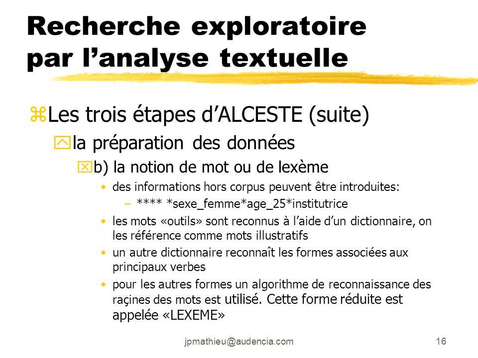 jpmathieu@audencia.com16 Recherche exploratoire par lanalyse textuelle zLes trois étapes dALCESTE (suite) yla préparation des données xb) la notion de