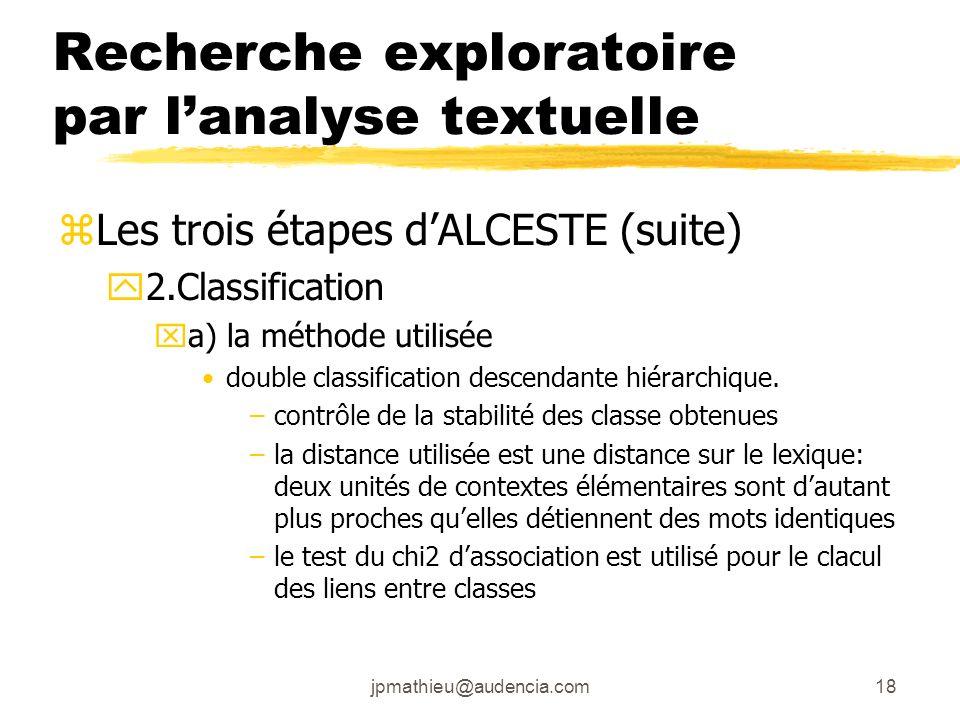 jpmathieu@audencia.com18 Recherche exploratoire par lanalyse textuelle zLes trois étapes dALCESTE (suite) y2.Classification xa) la méthode utilisée do