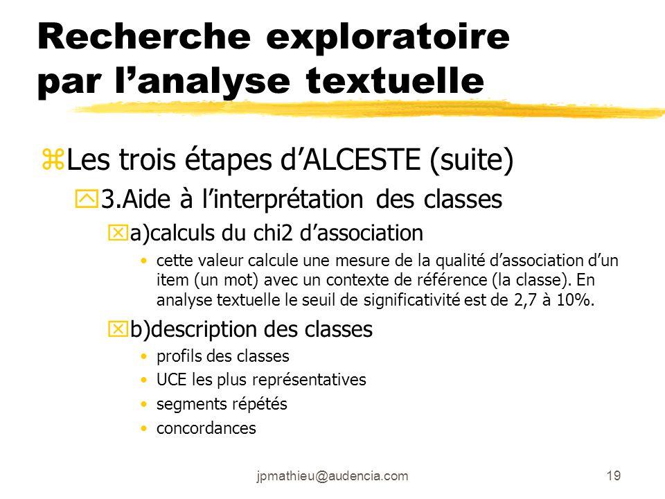 jpmathieu@audencia.com19 Recherche exploratoire par lanalyse textuelle zLes trois étapes dALCESTE (suite) y3.Aide à linterprétation des classes xa)cal