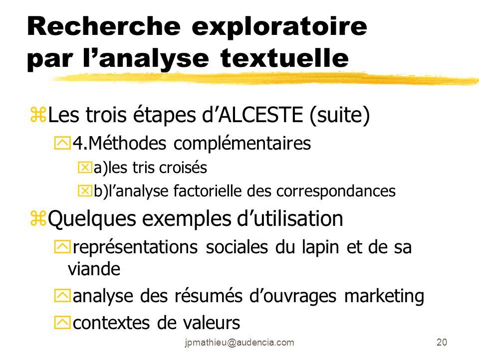 jpmathieu@audencia.com20 Recherche exploratoire par lanalyse textuelle zLes trois étapes dALCESTE (suite) y4.Méthodes complémentaires xa)les tris croi
