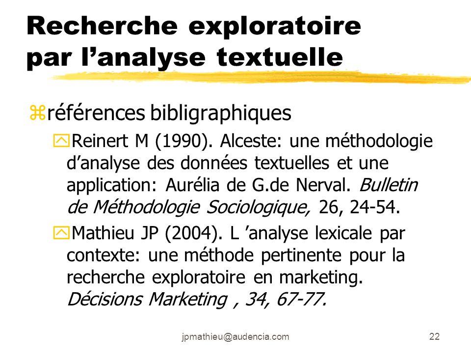 jpmathieu@audencia.com22 Recherche exploratoire par lanalyse textuelle zréférences bibligraphiques yReinert M (1990). Alceste: une méthodologie danaly