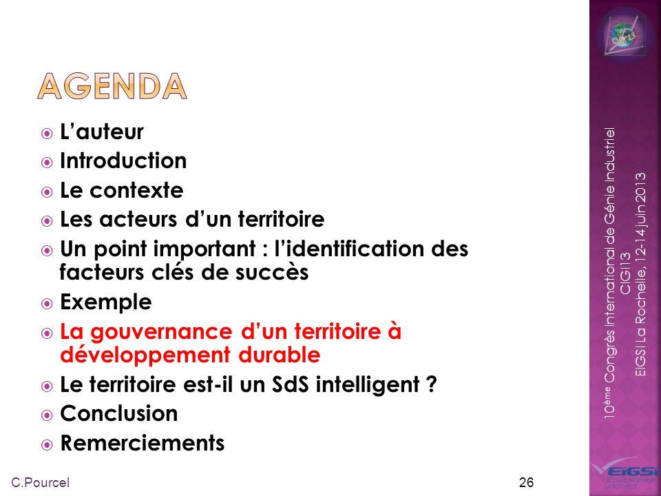 10 ème Congrès International de Génie Industriel CIGI13 EIGSI La Rochelle, 12-14 juin 2013 La gouvernance, c est la capacité des sociétés humaines à se doter de systèmes de représentation, d institutions, de règles, de procédures, de moyens de mesure, de corps sociaux capables de gérer les interdépendances de façon pacifique.