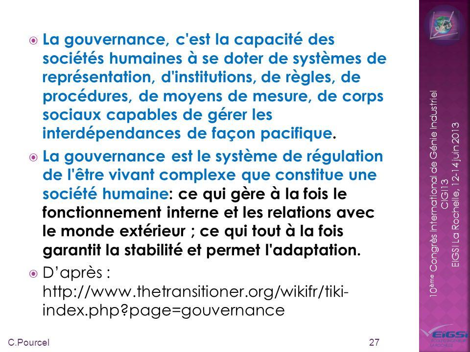 10 ème Congrès International de Génie Industriel CIGI13 EIGSI La Rochelle, 12-14 juin 2013 La gouvernance, c'est la capacité des sociétés humaines à s