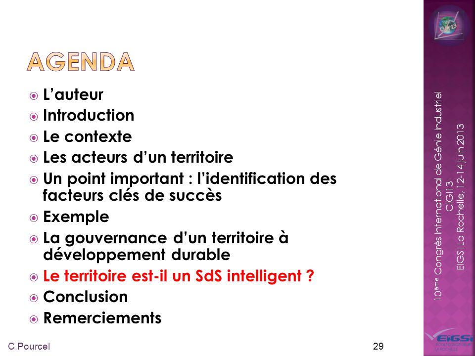 10 ème Congrès International de Génie Industriel CIGI13 EIGSI La Rochelle, 12-14 juin 2013 L intelligence collective dun territoire désigne les capacités cognitives d une communauté résultant des interactions multiples entre ses membres ou acteurs.
