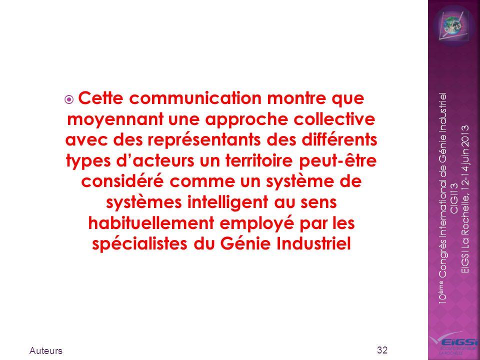 10 ème Congrès International de Génie Industriel CIGI13 EIGSI La Rochelle, 12-14 juin 2013 Cette communication montre que moyennant une approche colle