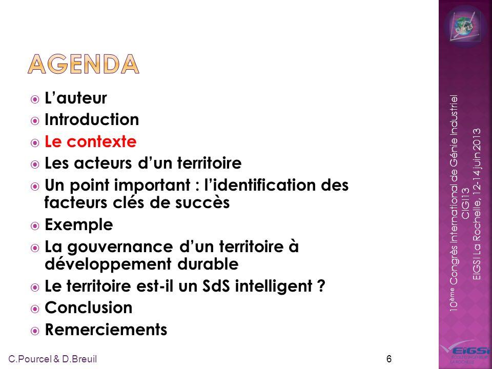 10 ème Congrès International de Génie Industriel CIGI13 EIGSI La Rochelle, 12-14 juin 2013 Territoire : « Étendue de terre, espace ou sont circonscrites des activités humaines » Les activités humaines sont considérées comme des systèmes artificiels (cf.