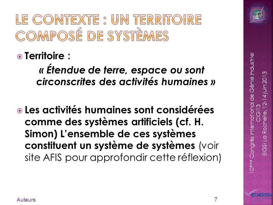 10 ème Congrès International de Génie Industriel CIGI13 EIGSI La Rochelle, 12-14 juin 2013 Territoire : « Étendue de terre, espace ou sont circonscrit