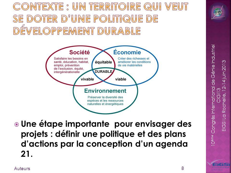 10 ème Congrès International de Génie Industriel CIGI13 EIGSI La Rochelle, 12-14 juin 2013 Une étape importante pour envisager des projets : définir u