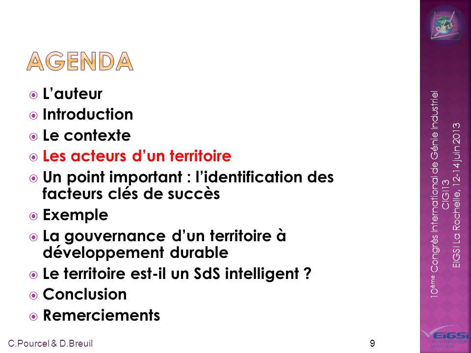 10 ème Congrès International de Génie Industriel CIGI13 EIGSI La Rochelle, 12-14 juin 2013 Lauteur Introduction Le contexte Les acteurs dun territoire