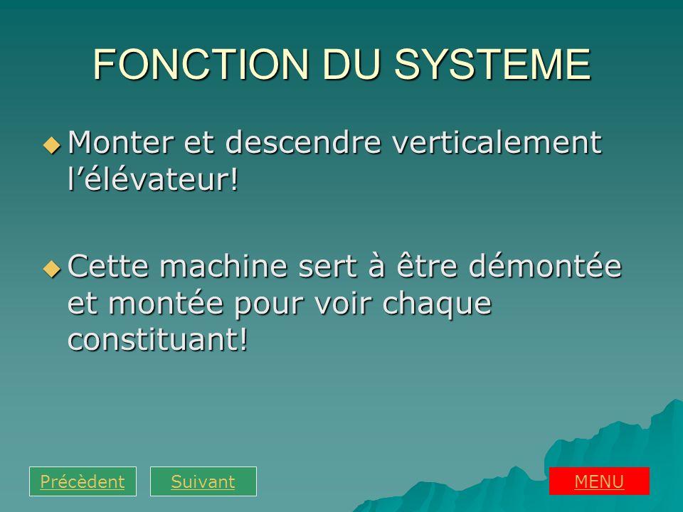FONCTION DU SYSTEME Monter et descendre verticalement lélévateur! Monter et descendre verticalement lélévateur! Cette machine sert à être démontée et