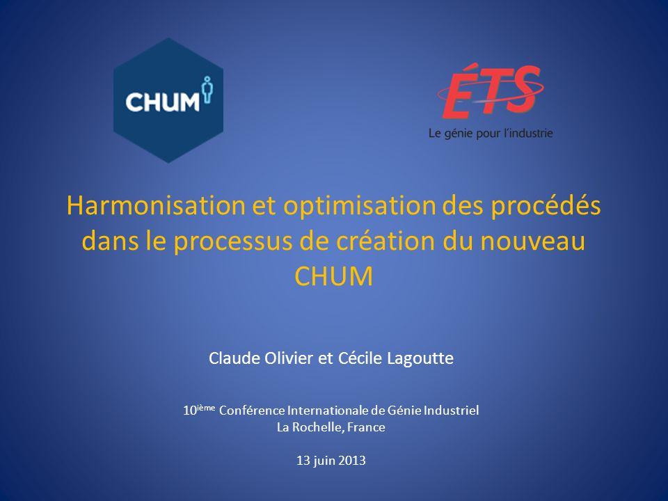 Harmonisation et optimisation des procédés dans le processus de création du nouveau CHUM Claude Olivier et Cécile Lagoutte 10 ième Conférence Internat