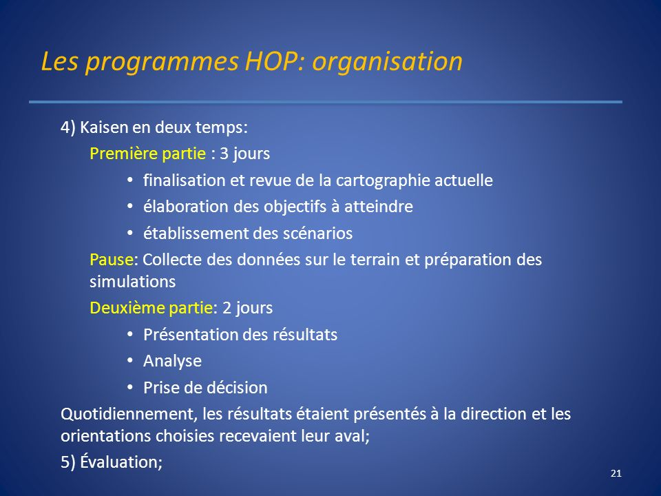 Les programmes HOP: organisation 4) Kaisen en deux temps: Première partie : 3 jours finalisation et revue de la cartographie actuelle élaboration des