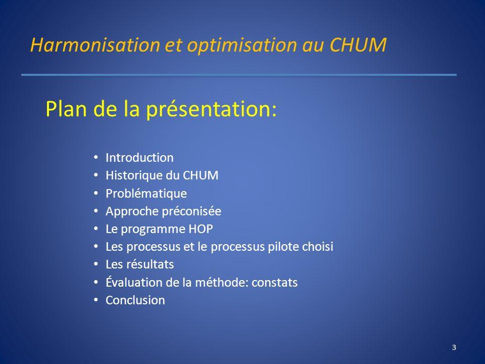 Harmonisation et optimisation au CHUM Plan de la présentation: Introduction Historique du CHUM Problématique Approche préconisée Le programme HOP Les
