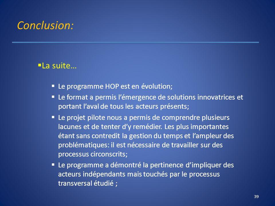 Conclusion: La suite… Le programme HOP est en évolution; Le format a permis lémergence de solutions innovatrices et portant laval de tous les acteurs