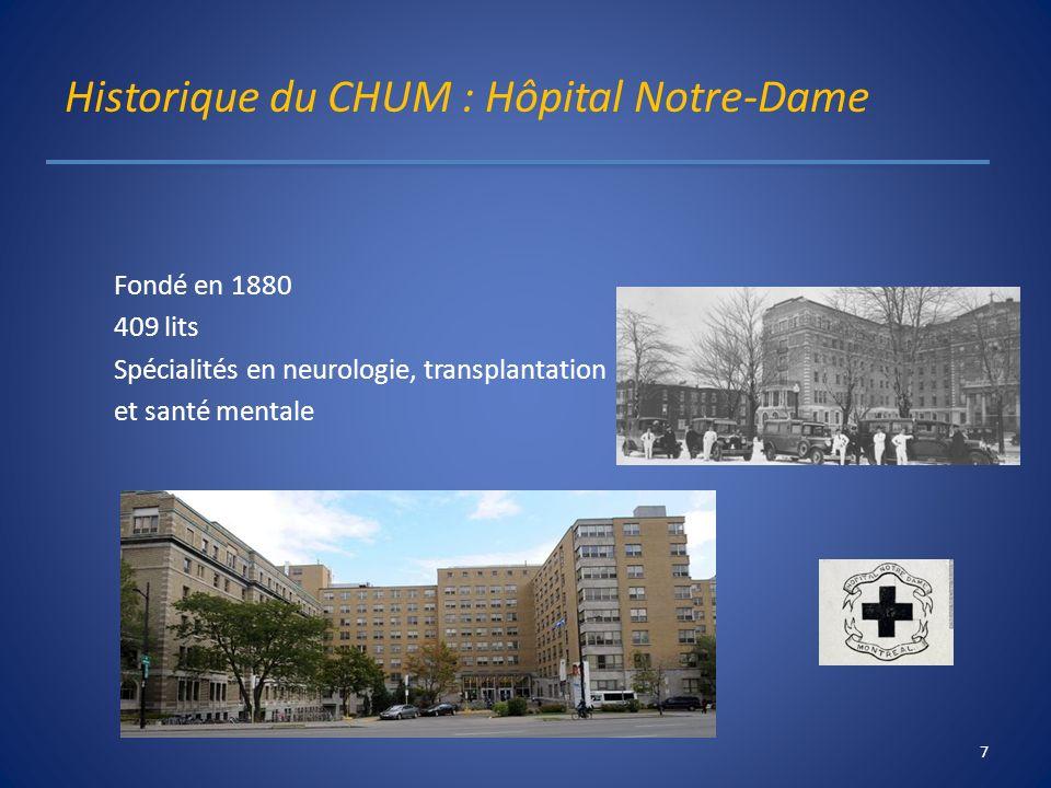 Historique du CHUM : Hôpital Notre-Dame Fondé en 1880 409 lits Spécialités en neurologie, transplantation et santé mentale 7
