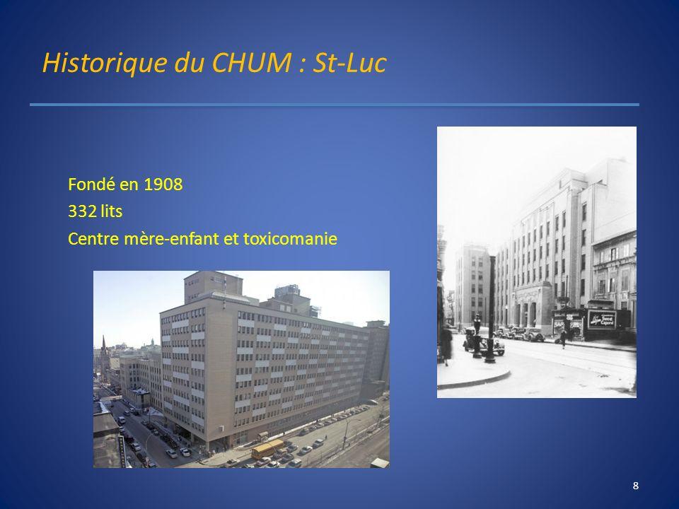 Historique du CHUM : St-Luc Fondé en 1908 332 lits Centre mère-enfant et toxicomanie 8
