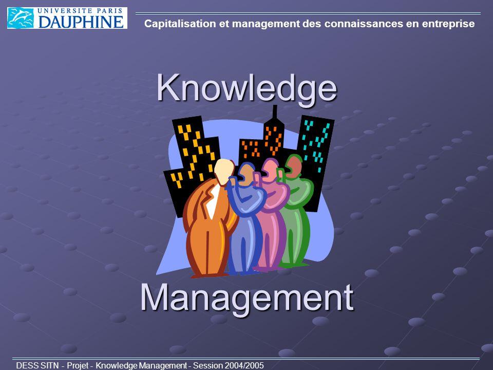 Ordre du jour Capitalisation et management des connaissances en entreprise DESS SITN - Projet - Knowledge Management - Session 2004/2005 1.Quest-ce que le Knowledge Management .