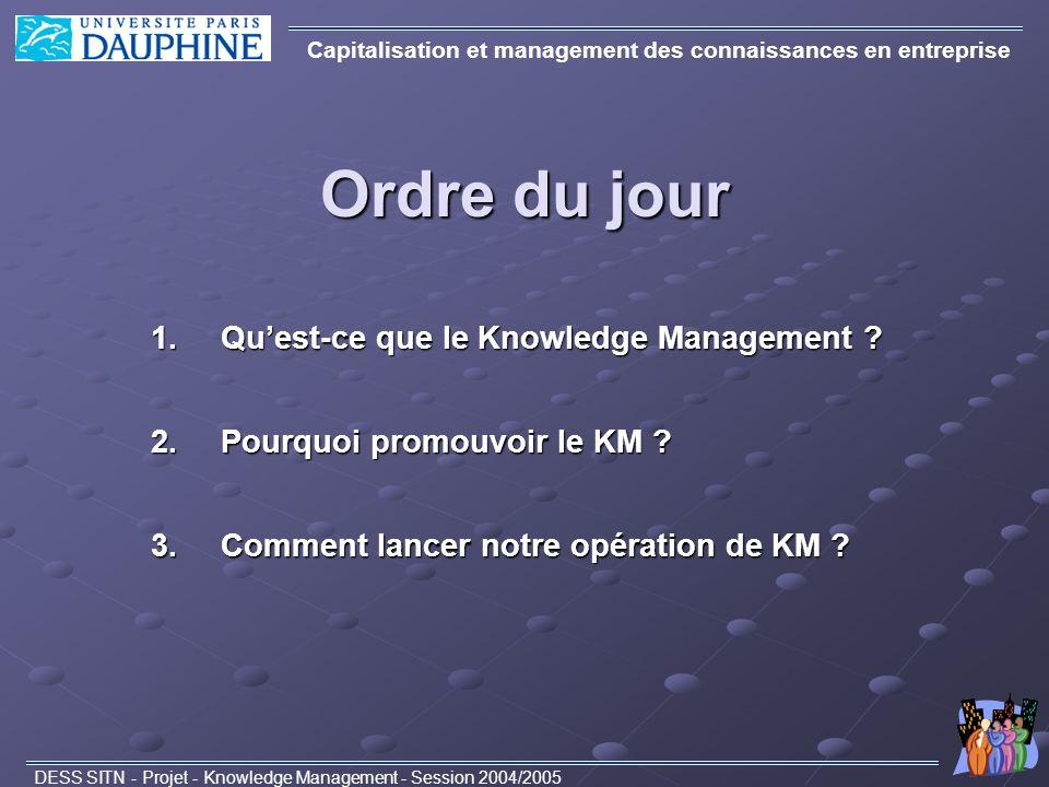Ordre du jour Capitalisation et management des connaissances en entreprise DESS SITN - Projet - Knowledge Management - Session 2004/2005 1.Quest-ce qu