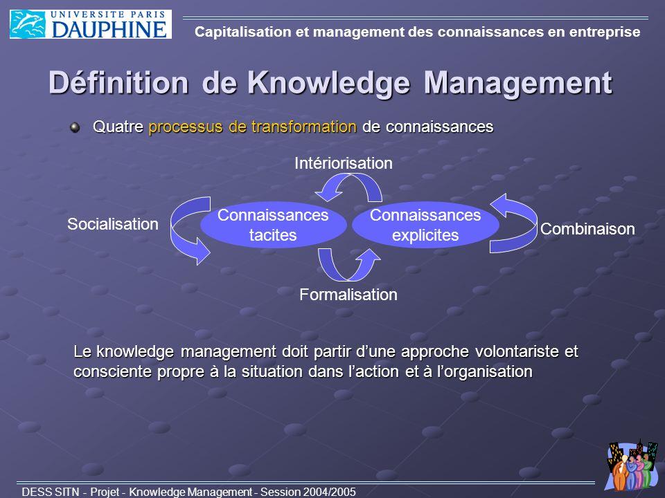 Définition de Knowledge Management Capitalisation et management des connaissances en entreprise DESS SITN - Projet - Knowledge Management - Session 20