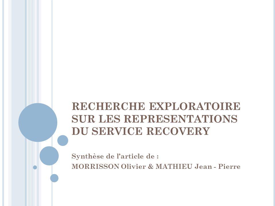RECHERCHE EXPLORATOIRE SUR LES REPRESENTATIONS DU SERVICE RECOVERY Synthèse de larticle de : MORRISSON Olivier & MATHIEU Jean - Pierre