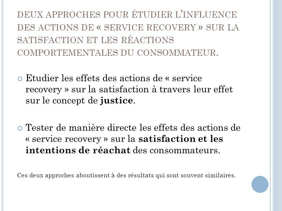 DEUX APPROCHES POUR ÉTUDIER L INFLUENCE DES ACTIONS DE « SERVICE RECOVERY » SUR LA SATISFACTION ET LES RÉACTIONS COMPORTEMENTALES DU CONSOMMATEUR.