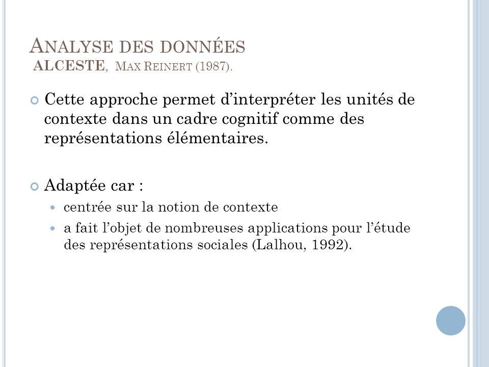 A NALYSE DES DONNÉES ALCESTE, M AX R EINERT (1987).