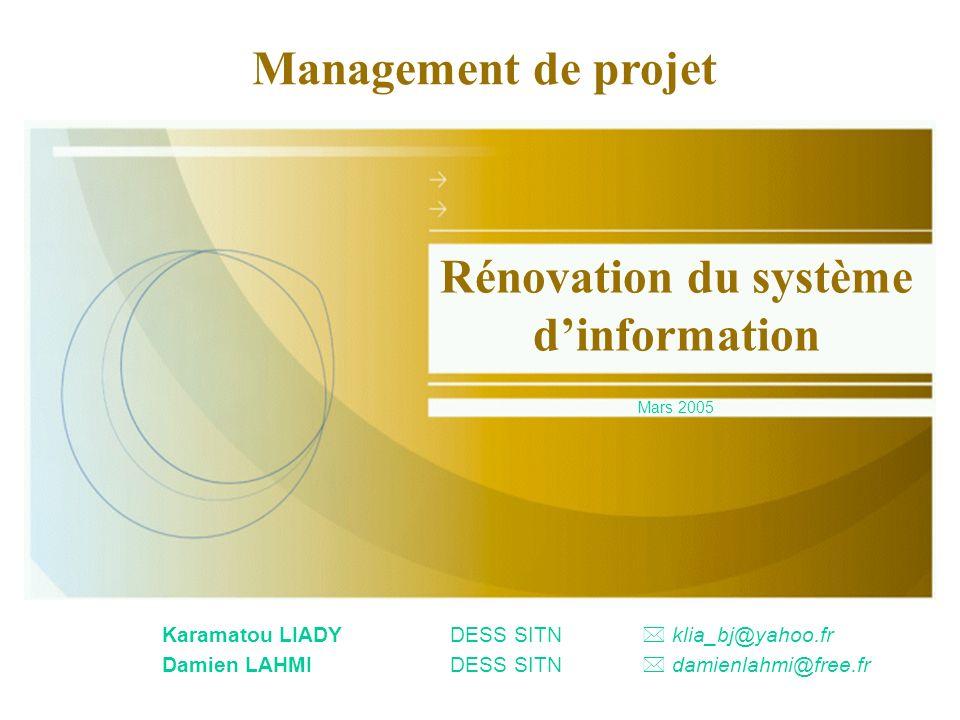 Karamatou LIADYDESS SITN klia_bj@yahoo.fr Damien LAHMIDESS SITN damienlahmi@free.fr Rénovation du système dinformation Mars 2005 Management de projet