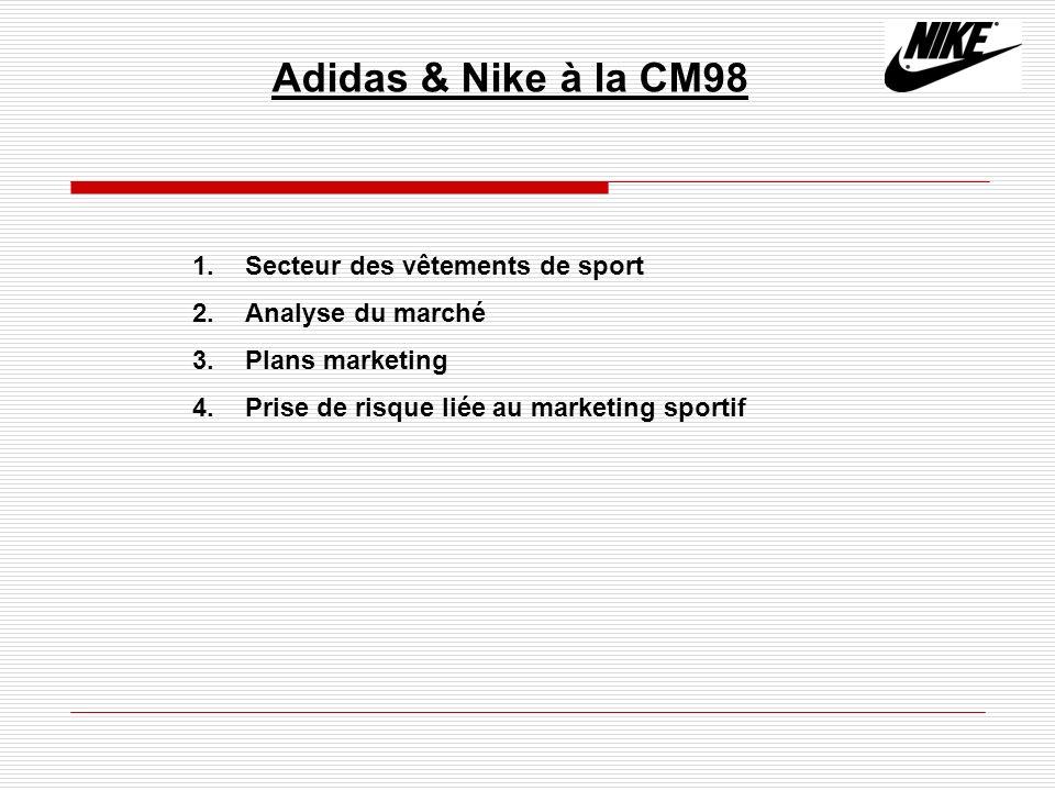 Adidas & Nike à la CM98 1. Secteur des vêtements de sport 2. Analyse du marché 3. Plans marketing 4. Prise de risque liée au marketing sportif