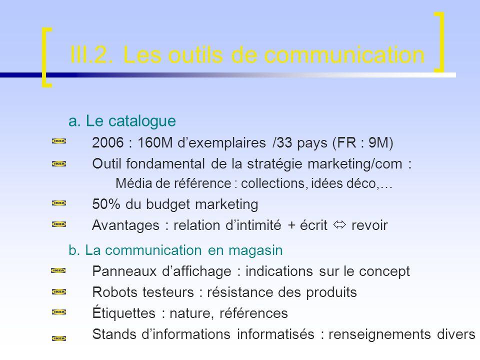 III.2. Les outils de communication b. La communication en magasin Panneaux daffichage : indications sur le concept Robots testeurs : résistance des pr