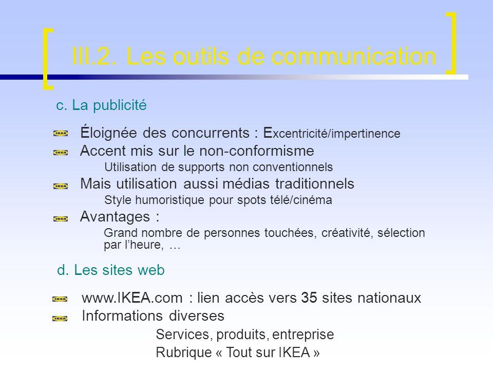 III.2. Les outils de communication c. La publicité Éloignée des concurrents : E xcentricité/impertinence Accent mis sur le non-conformisme Utilisation