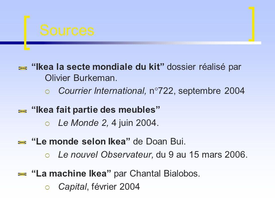 Sources Ikea la secte mondiale du kit dossier réalisé par Olivier Burkeman. Courrier International, n°722, septembre 2004 Ikea fait partie des meubles
