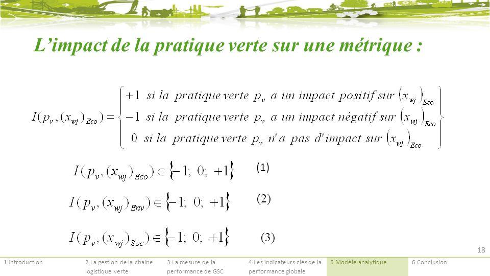 1.Introduction2.La gestion de la chaine logistique verte 3.La mesure de la performance de GSC 4.Les indicateurs clés de la performance globale 5.Modèle analytique6.Conclusion (1) Limpact de la pratique verte sur une métrique : (2) (3) 18