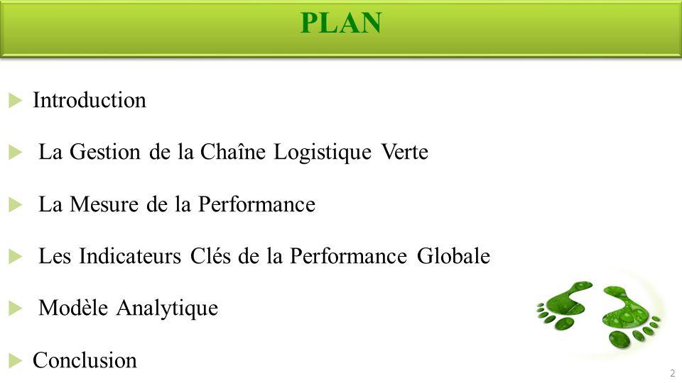 Introduction La Gestion de la Chaîne Logistique Verte La Mesure de la Performance Les Indicateurs Clés de la Performance Globale Modèle Analytique Con