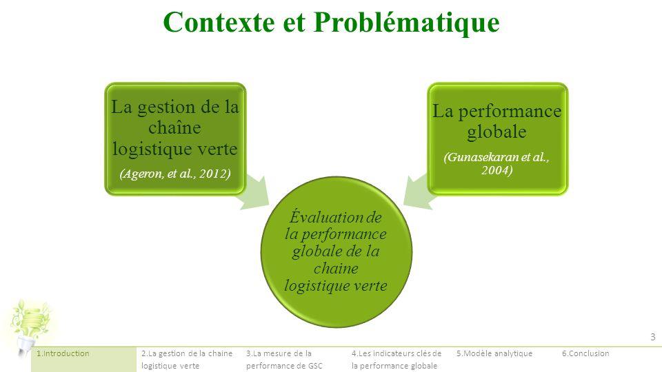 Évaluation de la performance globale de la chaine logistique verte La gestion de la chaîne logistique verte (Ageron, et al., 2012) La performance glob