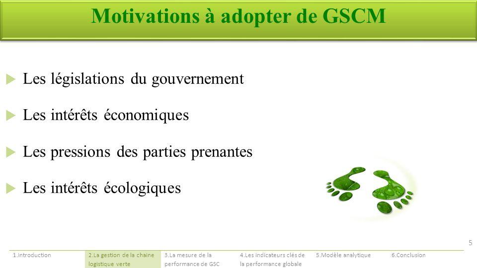 Motivations à adopter de GSCM Les législations du gouvernement Les intérêts économiques Les pressions des parties prenantes Les intérêts écologiques 1