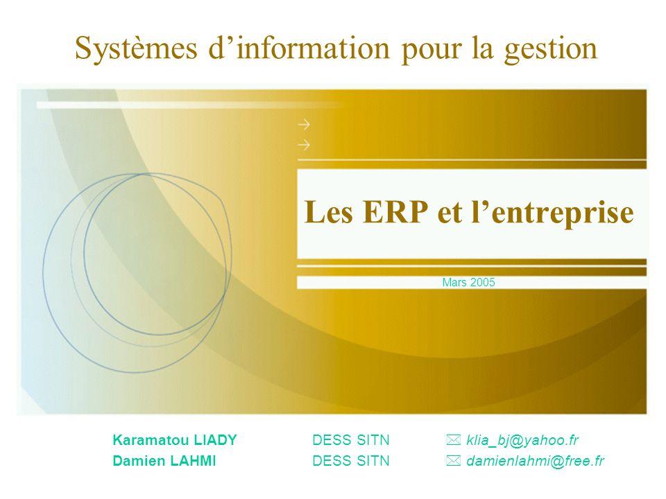 Mars 2005Les ERP et l entreprise2 Plan Concept dERP Degré dinformatisation dune entreprise Le marché des ERP LERP pour quels besoins .