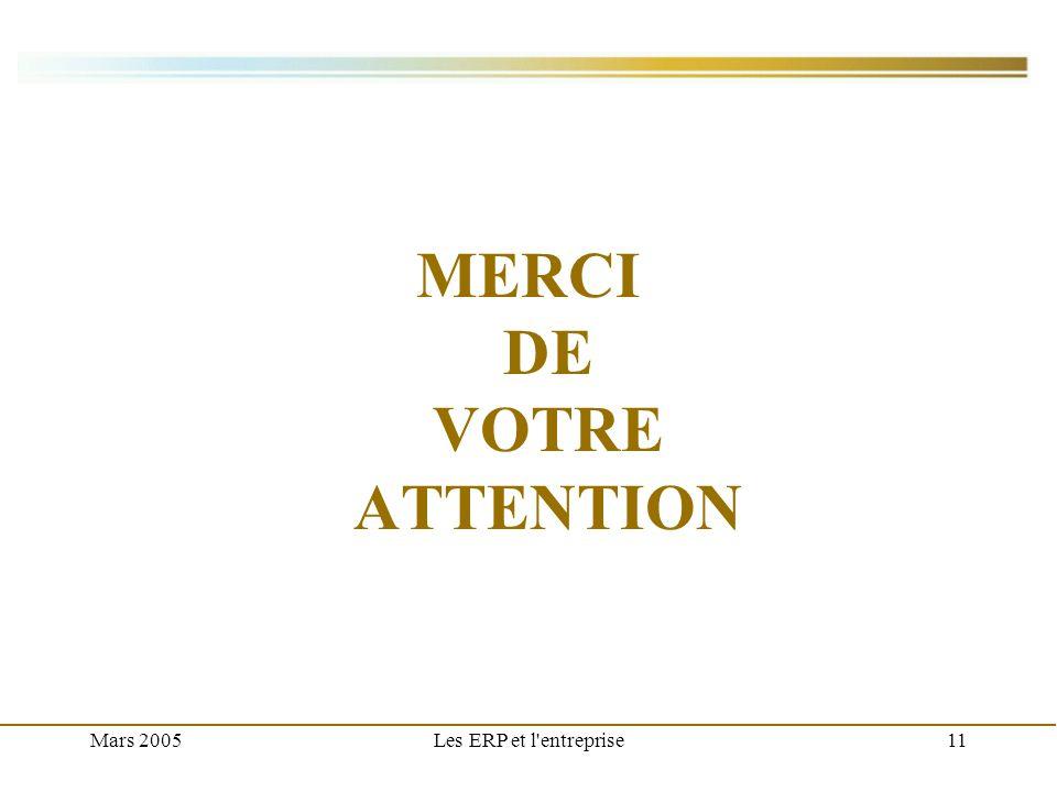 Mars 2005Les ERP et l'entreprise11 MERCI DE VOTRE ATTENTION