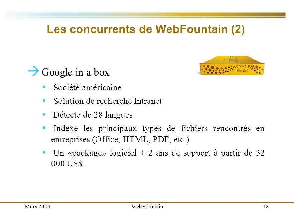 Mars 2005WebFountain18 Les concurrents de WebFountain (2) Google in a box Société américaine Solution de recherche Intranet Détecte de 28 langues Indexe les principaux types de fichiers rencontrés en entreprises (Office, HTML, PDF, etc.) Un «package» logiciel + 2 ans de support à partir de 32 000 US$.