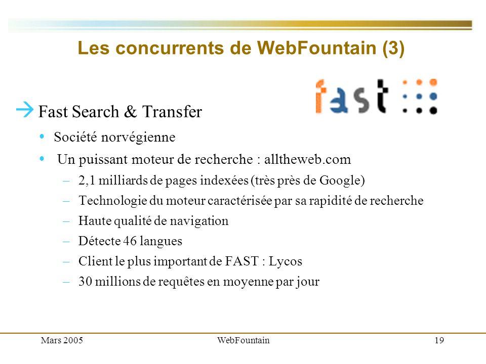 Mars 2005WebFountain19 Les concurrents de WebFountain (3) Fast Search & Transfer Société norvégienne Un puissant moteur de recherche : alltheweb.com – 2,1 milliards de pages indexées (très près de Google) – Technologie du moteur caractérisée par sa rapidité de recherche – Haute qualité de navigation – Détecte 46 langues – Client le plus important de FAST : Lycos – 30 millions de requêtes en moyenne par jour
