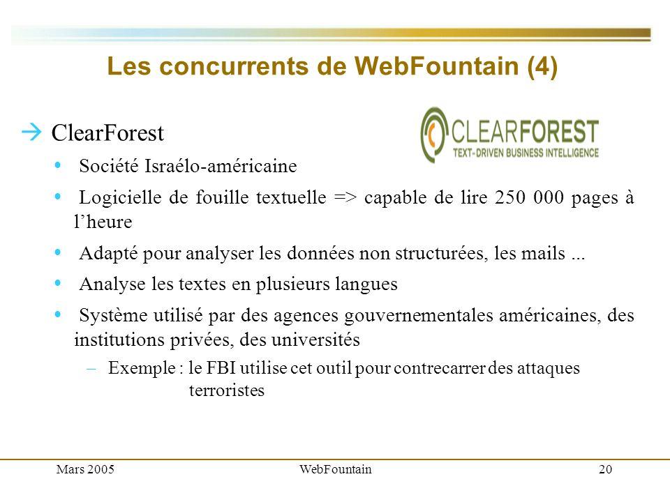 Mars 2005WebFountain20 Les concurrents de WebFountain (4) ClearForest Société Israélo-américaine Logicielle de fouille textuelle => capable de lire 250 000 pages à lheure Adapté pour analyser les données non structurées, les mails...