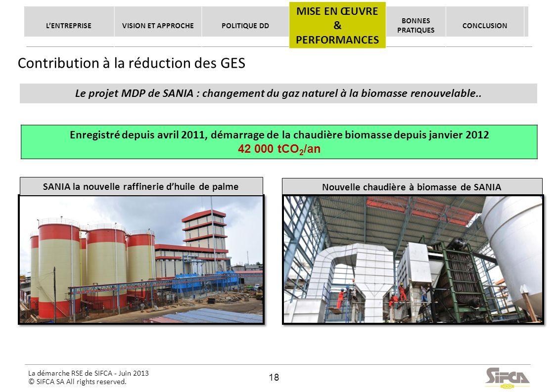 La démarche RSE de SIFCA - Juin 2013 © SIFCA SA All rights reserved. Le projet MDP de SANIA : changement du gaz naturel à la biomasse renouvelable.. E