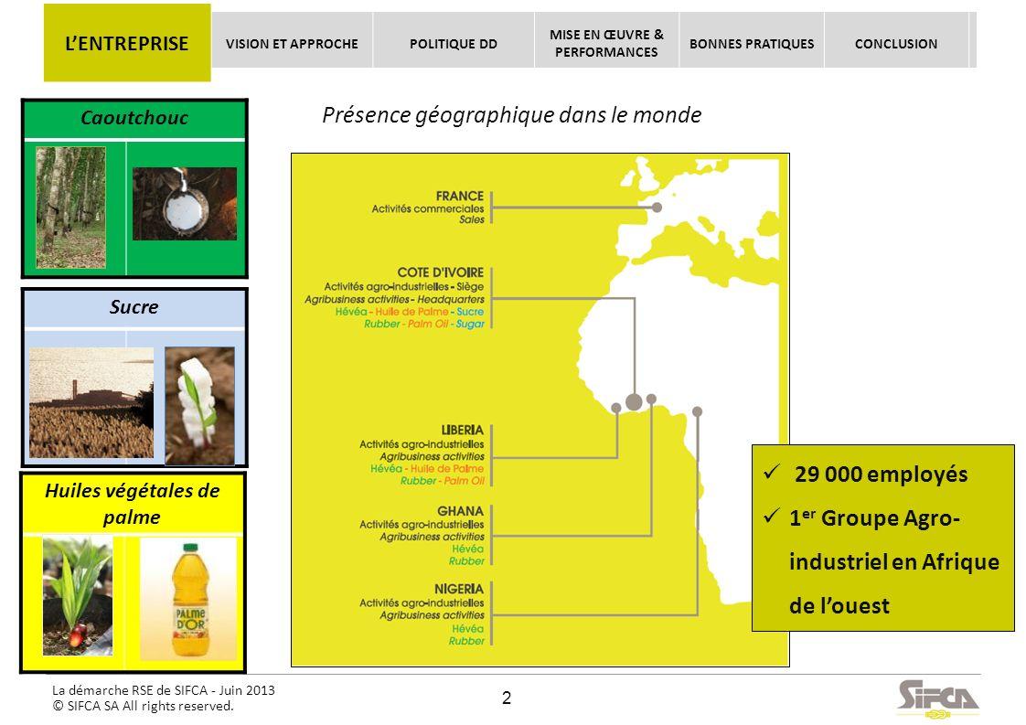 La démarche RSE de SIFCA - Juin 2013 © SIFCA SA All rights reserved. Huiles végétales de palme Sucre Caoutchouc Présence géographique dans le monde 29