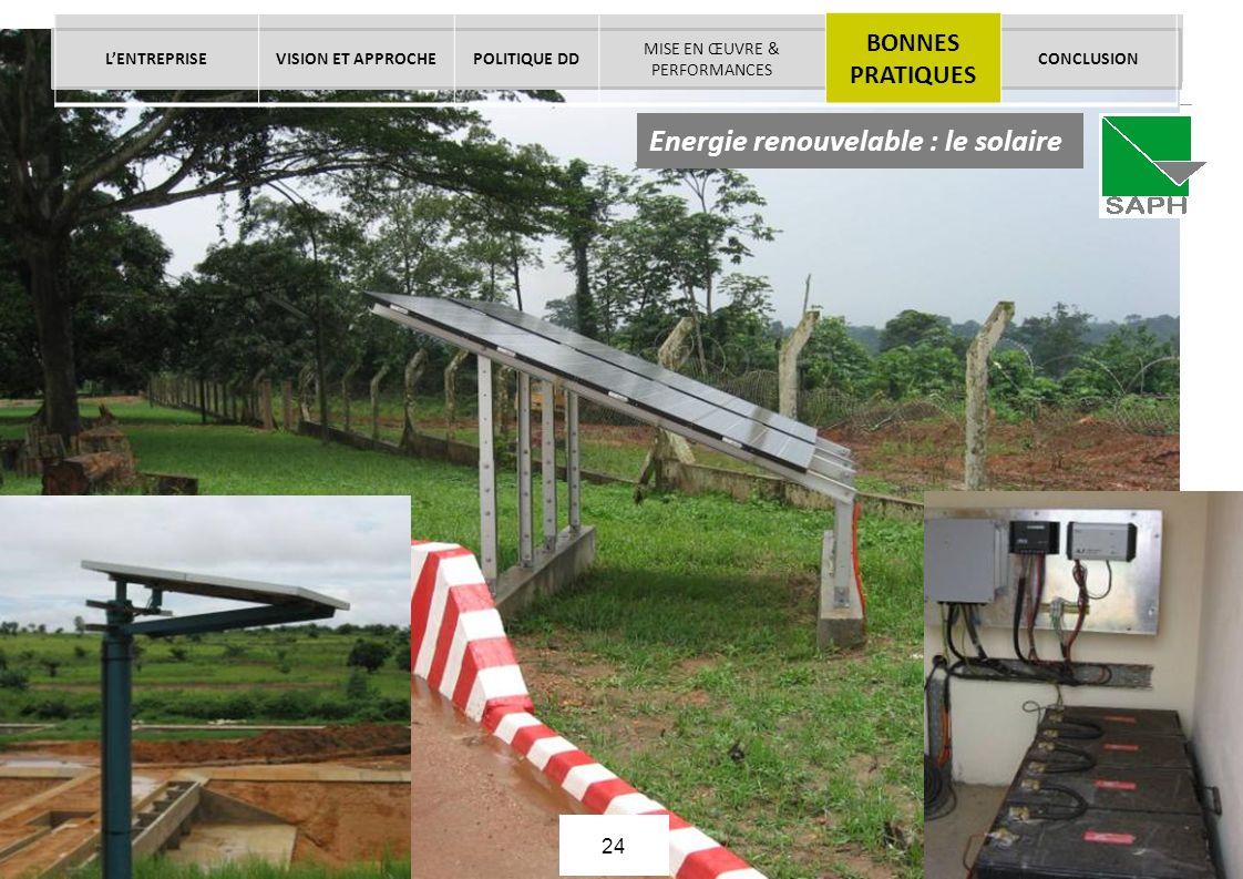 La démarche RSE de SIFCA - Juin 2013 © SIFCA SA All rights reserved. Page 24 Energie renouvelable : le solaire LENTREPRISEVISION ET APPROCHEPOLITIQUE