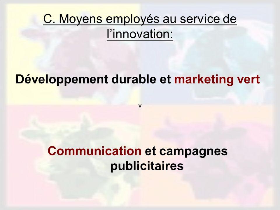 vvv C. Moyens employés au service de linnovation: Développement durable et marketing vert Communication et campagnes publicitaires