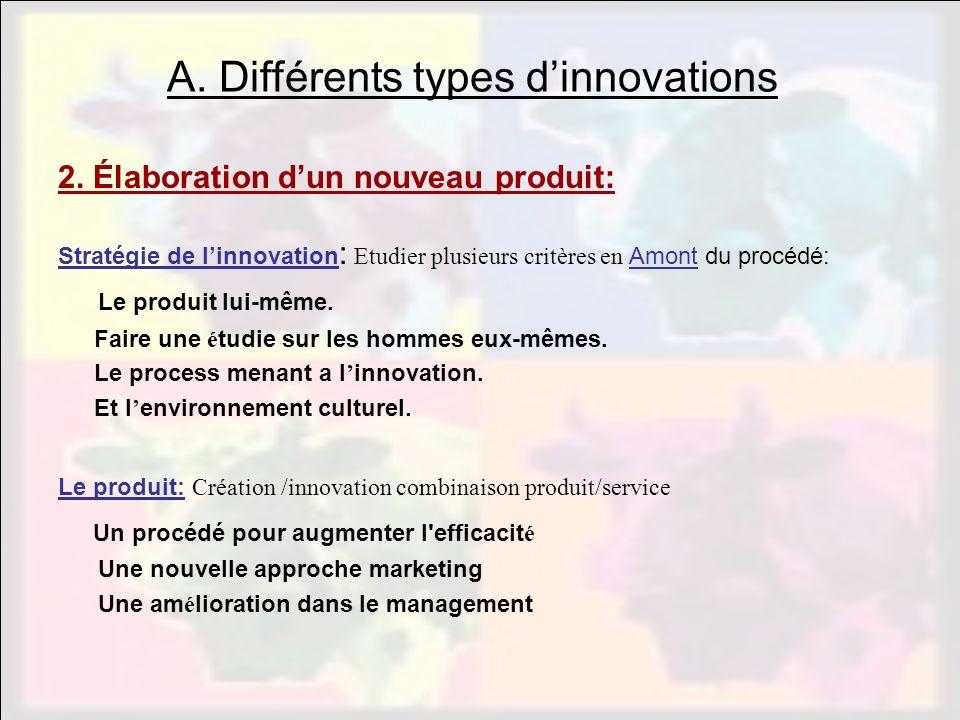 2. Élaboration dun nouveau produit: Stratégie de linnovation : Etudier plusieurs critères en Amont du procédé: Le produit lui-même. Faire une é tudie