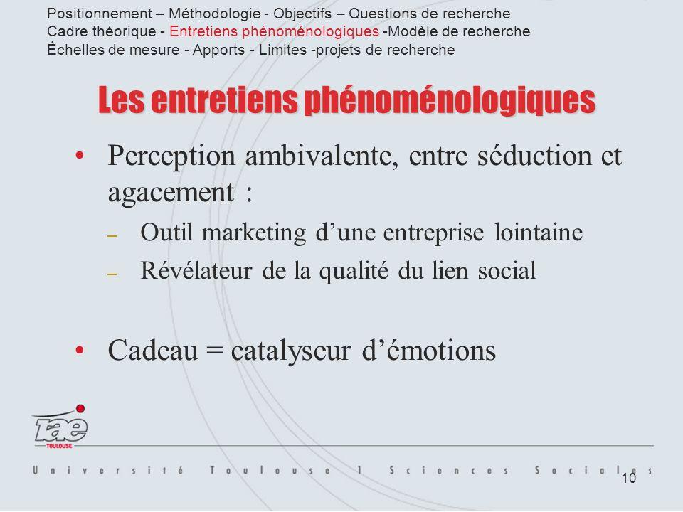 10 Les entretiens phénoménologiques Perception ambivalente, entre séduction et agacement : – Outil marketing dune entreprise lointaine – Révélateur de