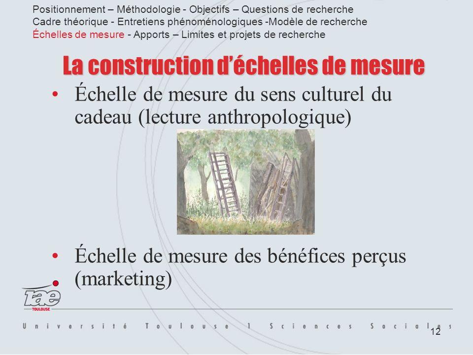 12 La construction déchelles de mesure Échelle de mesure du sens culturel du cadeau (lecture anthropologique) Échelle de mesure des bénéfices perçus (