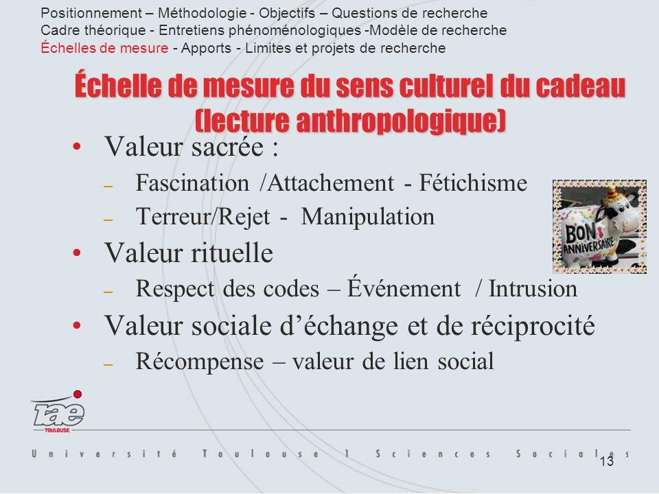 13 Échelle de mesure du sens culturel du cadeau (lecture anthropologique) Valeur sacrée : – Fascination /Attachement - Fétichisme – Terreur/Rejet - Ma