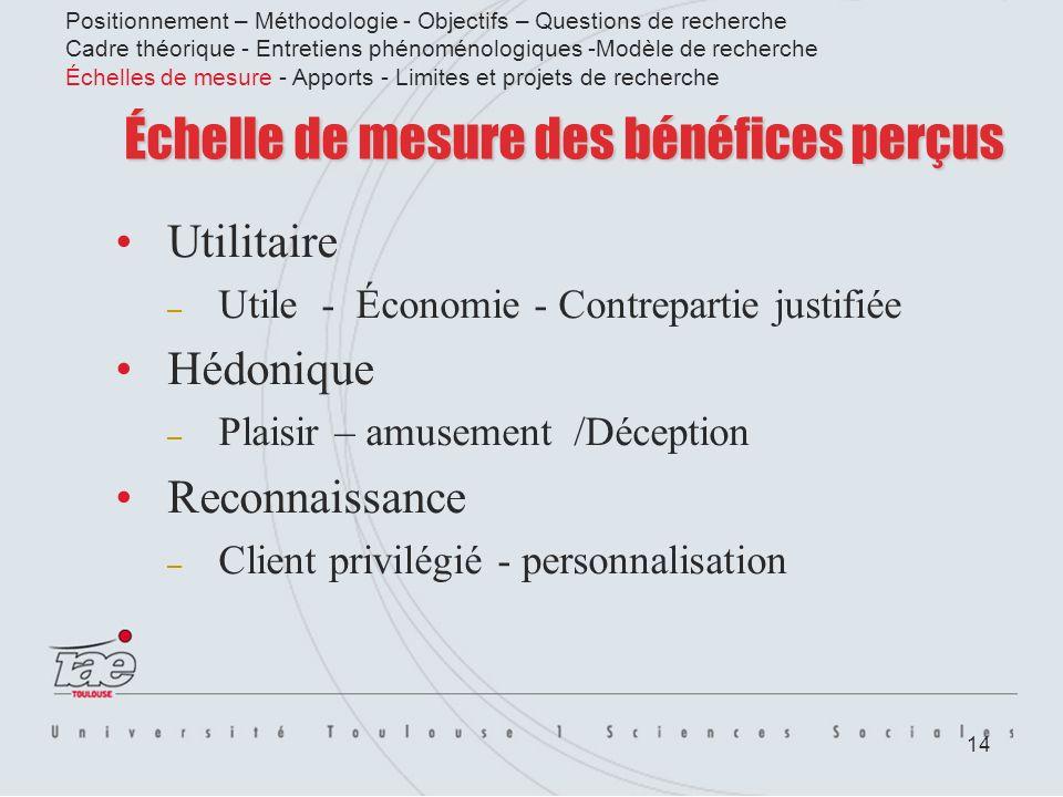 14 Échelle de mesure des bénéfices perçus Utilitaire – Utile - Économie - Contrepartie justifiée Hédonique – Plaisir – amusement /Déception Reconnaiss